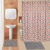 Popular Bath Domino 15 Piece Chenille Shower Curtain Set