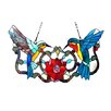 River of Goods Hummingbird Floral Stained Glass Panel