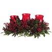 """Silk Flower Depot 28"""" Berry/Cone/Pine Centerpiece with 3 Glass Candleholder"""