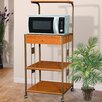 Hazelwood Home Microwave Cart with Wood Top I