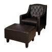 Three Posts Chris Leather Club Chair & Ottoman Set