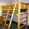 Moon Valley Rustic Twin Loft Bed with Built-In Ladder