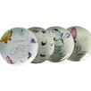 "Kathy Davis Butterflies Promise 7.5"" Porcelain Dessert Plate 4 Piece Set"