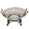 EC World Imports Urban Glass Decorative Bowl with Grape Leaf Metal Stand