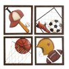 EC World Imports Casa Cortes 4 Piece Diversity of Sports Metal Wall Decor Set