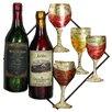 EC World Imports Urban Vino Wine Bottle and Glass Hanging Metal Art Wall Decor