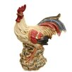 EC World Imports Casa Cortes Hand-Painted Ceramic Perched Rooster Statue Figurine