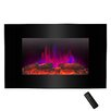 """Golden Vantage Pebble and Log Interchangeable 36"""" Wall Mount Electric Fireplace with Remote"""