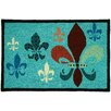 Homefires Potpourri Fleur De Lis Teal/Brown Area Rug
