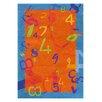 Dynamic Rugs Fantasia Orange/Blue Number Area Rug