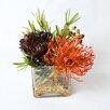 TC Floral Company Protea & Succulents in Square Glass Container