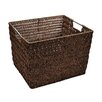 Simplify Natural Faux Rattan Vertical Weave Shelf Tote