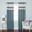 Best Home Fashion, Inc. StripedHeavyweight Textured Faux Linen Grommet Top CurtainPanels (Set of 2)