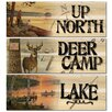 WGI-GALLERY The Lake-Lakeland Sunset/Deer Camp-No Hunting/Up North-Song of the North 3 Piece Graphic Art Plaque Set