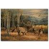 WGI-GALLERY Meadow Music Elk Painting Print on Wood