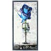 "Empire Art Direct ""Blue Rose Cocktail"" Original Handmade Paper Collage Signed by Gianni Framed Graphic Art"