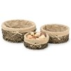 Boston International 3 Piece Cloth Lined Natural Basket Set