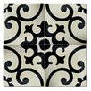 """Moroccan Mosaic Malaga 8"""" x 8"""" Marble Hand-Painted Tile in Black and Ivory"""