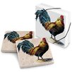 Epic Products Farmhouse Rooster Stone Travertine Coaster (Set of 4)