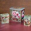 Ohio Wholesale 3 Piece Vintage Floral Tins Set