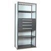 """Equipto V-Grip 84"""" Shelving with Drawers Unit - 4Drw/5Shelf Closed Starter,  4 drawers - (2) 4.5"""" & (2) 6"""" H; 200 lb capacity"""