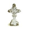 Shea's Wildflowers Distressed White Poly Resin Standing Cross with Intricate Design Statue