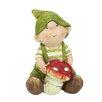 Northlight Seasonal Young Boy Gnome Holding a Mushroom Garden Statue