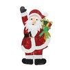 Northlight Seasonal Tinsel Waving Santa Claus with Gift Christmas Decoration