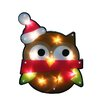 Northlight Seasonal Lighted Shimmering Owl with Santa Hat Christmas Window Silhouette Decoration
