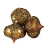 Northlight Seasonal Glitter Sequin Beaded Shatterproof Christmas Onion Ornament (Set of 3)