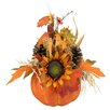 Northlight Seasonal Autumn Harvest Artificial Pumpkin with Mixed Fall Leaves Mums and Pine Cones Decoration