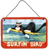 Caroline's Treasures Black and White Cat Surfin Bird Hanging Painting Print Plaque