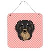 Caroline's Treasures Checkerboard Pink Longhair Black and Tan Dachshund Hanging Painting Print Plaque