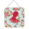 Caroline's Treasures Octopus Shabby Elegance Blue Roses Hanging Painting Print Plaque