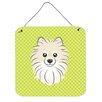 Caroline's Treasures Checkerboard Green Pomeranian Hanging Graphic Art Plaque