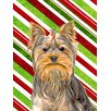 Caroline's Treasures Candy Cane Holiday Christmas Yorkie/Yorkshire Terrier 2-Sided Garden Flag