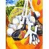 Caroline's Treasures Southeastern Golf Clubs with glove and balls House Vertical Flag