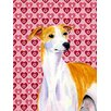 Caroline's Treasures Whippet Hearts Love and Valentine's Day House Vertical Flag