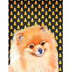 Caroline's Treasures Pomeranian Candy Corn Halloween House Vertical Flag