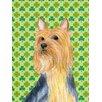 Caroline's Treasures Silky Terrier St. Patrick's Day Shamrock House Vertical Flag