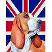 Caroline's Treasures Basset Hound with English Union Jack British Flag House Vertical Flag