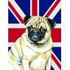 Caroline's Treasures Pug with English Union Jack British Flag House Vertical Flag