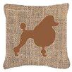 Caroline's Treasures Poodle Burlap Indoor/Outdoor Throw Pillow