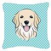 Caroline's Treasures Checkerboard Golden Retriever Indoor/Outdoor Throw Pillow