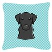 Caroline's Treasures Checkerboard Black Labrador Indoor/Outdoor Throw Pillow