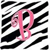 Caroline's Treasures Monogram Initial Zebra Stripe Indoor/Outdoor Throw Pillow