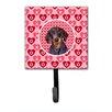 Caroline's Treasures Dachshund Valentine's Love and Hearts Leash Holder and Wall Hook