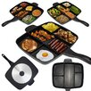 "Master Pan Non Stick Divided Meal Skillet 15"" Grill Fry Oven/Dishwasher Safe"