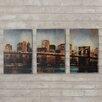 Varick Gallery Millbrook Lights on Bridge Triptych 3 Piece Wall Plaque Set