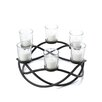 Brayden Studio Greenly Round Waves Iron and Glass Candle Holder